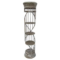 Vintage Wrought Iron Spiral Column Store Display Stand