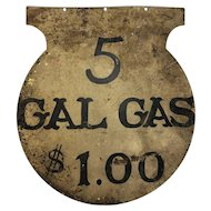 Antique Folk Art Painted Sheet Metal Gas Sign Gasoline
