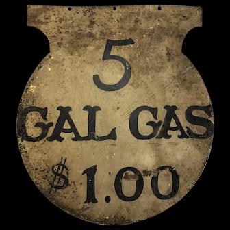 Antique Folk Art Painted Sheet Metal Gas Sign Gasoline