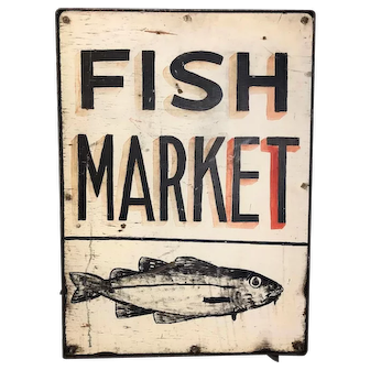 Vintage Fish Market Painted Wooden Sign
