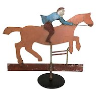 Antique Folk Art Sheet Iron Jumper Horse Weather Vane