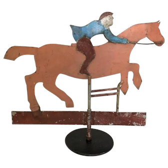 Antique Folk Art Sheet Iron Jumper Horse Weather Vane