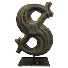 Antique Cast Iron Dollar Sign $ Architectural Sign Emblem