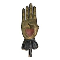 Antique Fraternal Carved Wooden Heart In Hand Ceremonial Staff