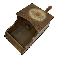 Antique Fraternal Wooden Heart in Hand Ballot Box