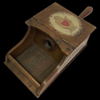 Antique Fraternal Wooden Heart in Hand Ballot Box