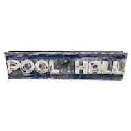 Vintage Tin Can Neon Sign Pool Hall Billiards