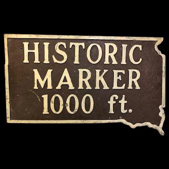 Vintage Cast Iron Historical Marker Sign South Dakota
