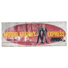 Vintage Metal York PA Motor Freight Company Sign