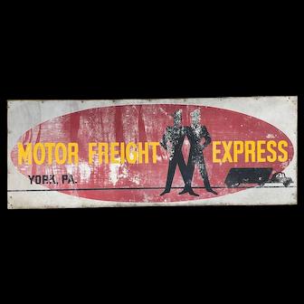 Vintage Metal York PA Motor Freight Company Sign