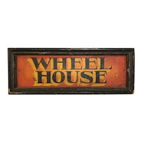 Antique Painted Wooden Wheel House Yacht Sign