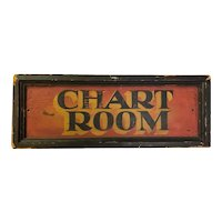Antique Painted Wooden Chart Room Sign Yacht Folk Art Americana