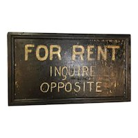 Vintage Hand Painted Folk Art Rent Sign