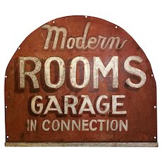 Vintage Painted Metal Rooms Garage Sign Great Americana Folk Art