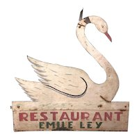Antique Painted Sheet Metal Restaurant Sign Swan