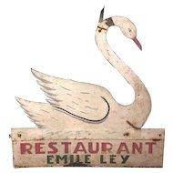 Antique Painted Sheet Metal Restaurant Sign Swan