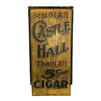 Antique Painted Wooden Cigar Folk Art Sign