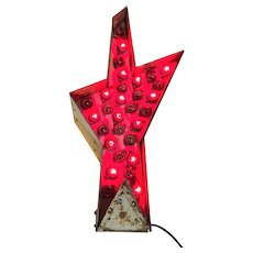 Vintage Blinking Star Metal Sign Non Neon