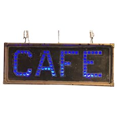 Antique Punched Tin Cafe Sign Lighted