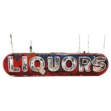 Vintage Neon Liquors Tin Can Sign