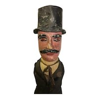 Antique Folk Art Diminutive Man In Suit