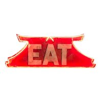 Vintage Chinese Pagoda Neon Tin Eat Sign