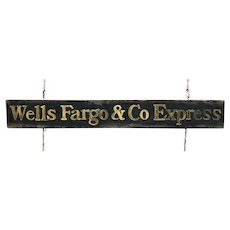 Antique Wells Fargo and American Railway Express Wooden Sign