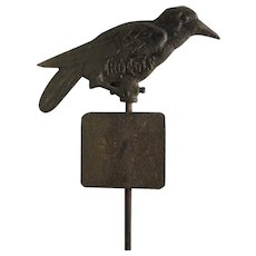 Antique Cast Iron Golf Pin Marker Crow Golf