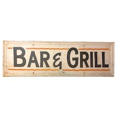 Vintage Pressed Tin Painted Bar Grill Sign