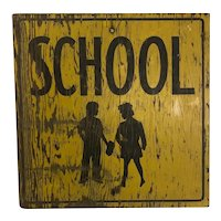 Vintage Painted Wooden School Caution Sign