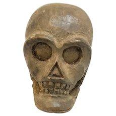 Vintage Wooden Carved Paper Mache Mold Skull