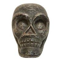 Vintage Carved Wooden Paper Mache Mold Skull