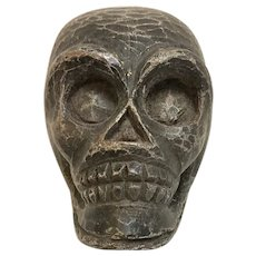 Vintage Carved Wooden Paper Mache Mold Skull