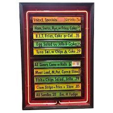 Vintage Neon Menu Board Countertop Display