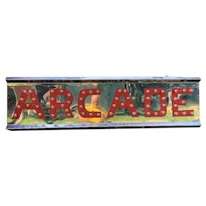 Vintage Lighted Chrome Metal Arcade Sign With Chasing Lights