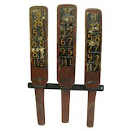 Antique Wooden Carnival Game Wheel Of Chance Betting Paddles Red Paint