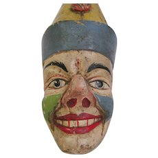 Antique Carved Painted Wooden Clown  Head Face Carousel