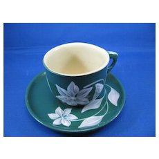 Watt Ware Moonflower Green Cup & Saucer