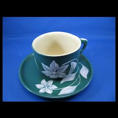 Watt Ware Moonflower Green Cup & Saucer