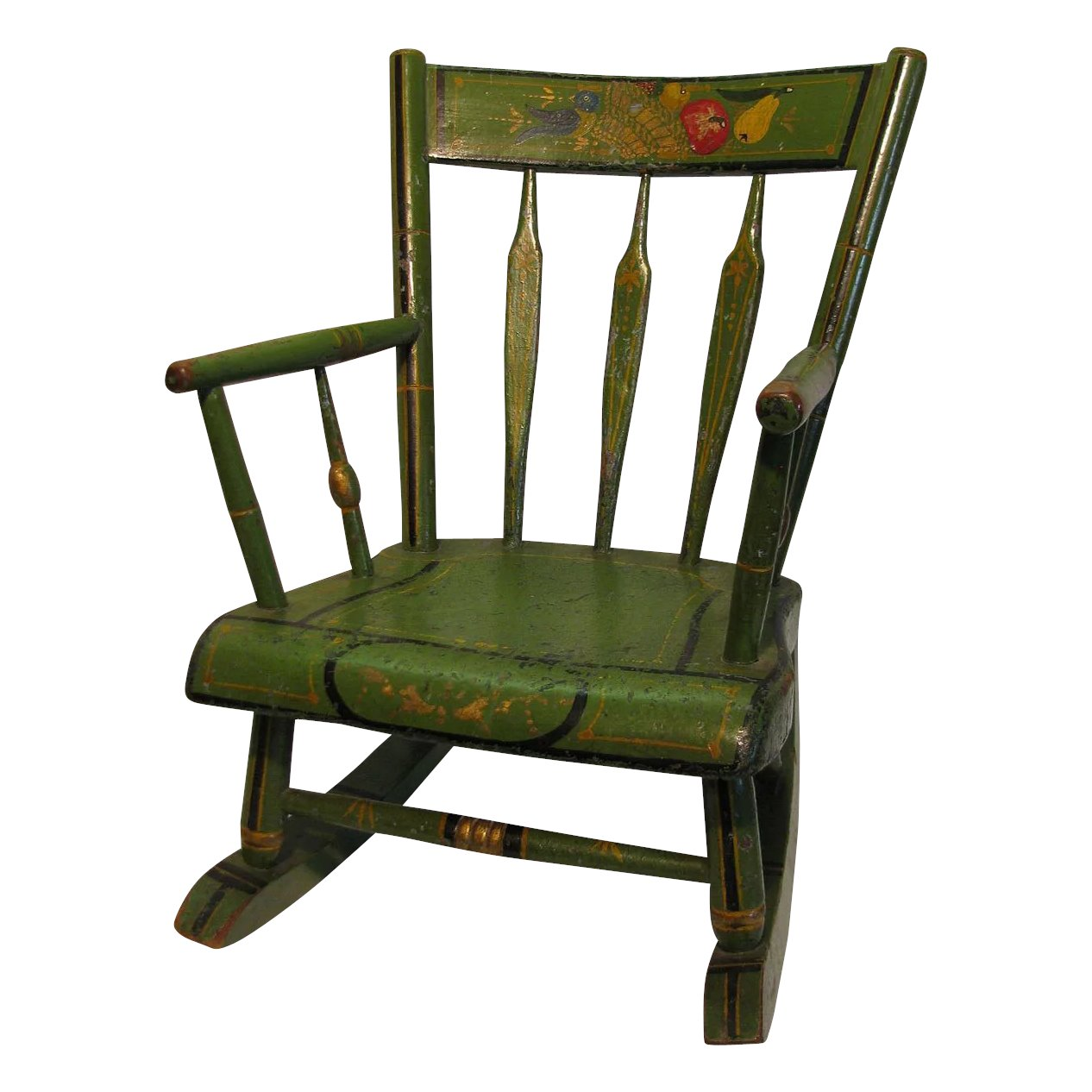 Click to expand - Antique Amish Green Folk Art Stenciled Child's Rocking Chair