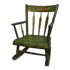 Antique Amish Green Folk Art Stenciled Child's Rocking Chair