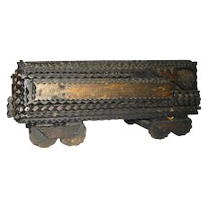 Tramp Art Train Wonderful Americana Folk Art Railroad Coal Car