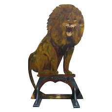 Vintage Circus Wooden Broad Board Lion Sign Hand Painted