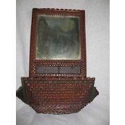 Vintage Tramp Art Folk Art painted candle mirror wall box