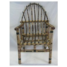 Antique Painted Child's Adirondack Willow Chair