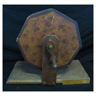 Antique Folk Art Grain Painted Wooden Spinning Ballot Box