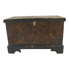 Exquisite Antique Miniature Grain Painted Blanket Chest 19th Century