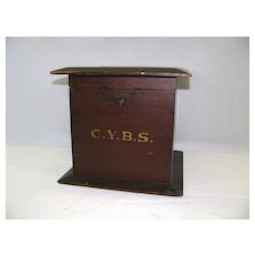 Vintage Ballot Box Marked C.Y.B.S. Wonderful Piece.