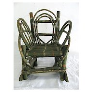 Vintage Folk Art Painted Child's Twig Rocking Chair