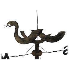 Antique Americana Folk Art Serpent Weather Vane